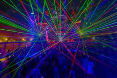 NightClub Colorful Lazer Lights, Rave Music, Summer Sessions Stock Image