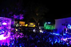 Nightclub Crowd, Outdoors Dance Party, Rave, Dancing and Having Fun. August, 2014, Bliss Nightclub party, Vilamoura, Algarve, South of Portugal. People dancing Royalty Free Stock Photography
