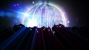 Nightclub with disco ball and dancing crowd