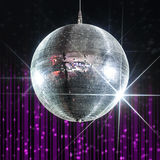 Nightclub disco ball. Disco ball with stars in nightclub with striped violet and black walls, party and nightlife entertainment industry Stock Images