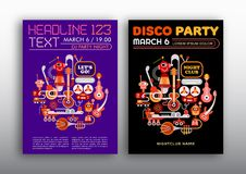 Nightclub Disco Party. Two options of Disco Party poster mock up, flyer design, size A4. Funny DJ robots playing musical instruments Royalty Free Stock Photo