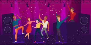 Nightclub discotheque flat color illustration. vector illustration