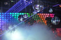 Nightclub Laser light show. Disco balls and laser light shows in a nightclub Stock Image
