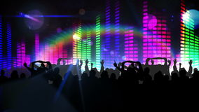 Nightclub with light show and dancing crowd stock video