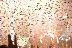 Nightclub lights and confetti royalty free stock photos