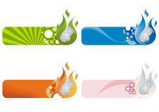 Nightclub Logos. A set of illustrations of a logo for a night club with flames and a disco ball Stock Image