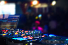 Nightclub. Parties DJ. sound equipment Royalty Free Stock Photography
