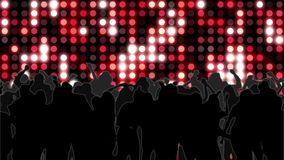 Nightclub with red mosaic wall of light and dancing crowd stock video footage