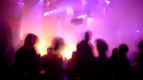 Nightclub Scene. With christmas decor and dance floor crowd in motion Stock Image