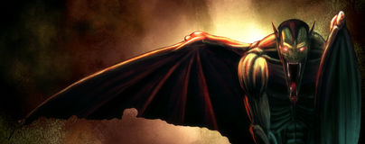 Nightcrawler. Digital Painting of a winged Evil Vampire Demon Stock Images