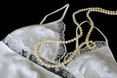 Nightdress and Pearl Necklace Royalty Free Stock Image