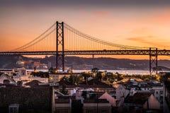 Nightfall. 25 Abril Bridge view at nightfall, Lisbon, Portugal Stock Image