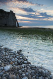 Nightfall in the beach of Etretat Royalty Free Stock Photos
