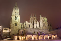 Nightfall in the Cathedral of Burgos Royalty Free Stock Photos