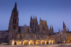 Nightfall in the Cathedral of Burgos Stock Images
