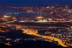 Nightfall in the great Bilbao Royalty Free Stock Photography