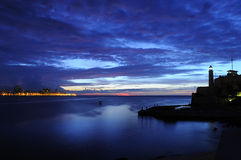 Nightfall on Havana bay Royalty Free Stock Images
