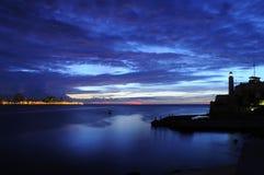 Nightfall on Havana bay royalty free stock images