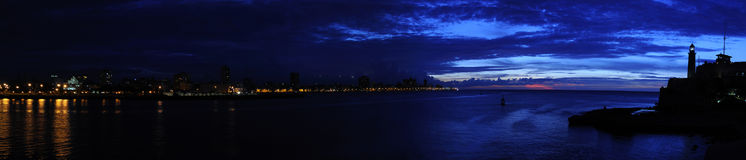 Nightfall on Havana Bay panorama Stock Photos