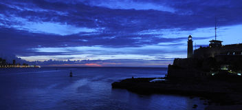 Nightfall on havana panorama royalty free stock images