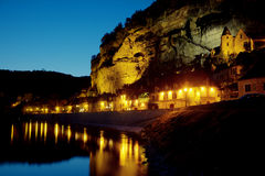 Nightfall in La Roque-Gageac Royalty Free Stock Photography
