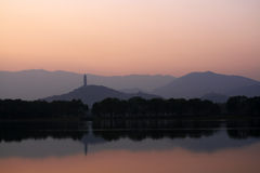 Nightfall lake. Kunming lake of Summer Palace,nightfall,tower,inverted reflection in water Royalty Free Stock Images