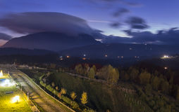 Nightfall over beautiful autumn landscape. Poiana Marului, Romania Stock Image