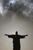 Nightfall over Cristo Redentor stock image
