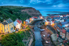 Nightfall over Staithes Stock Images