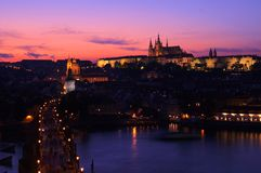 Nightfall in Prague. Charles bridge and prague castle Stock Image