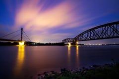 Nightfall river. Beautiful view of the Rhein waterside in Duisburg, Germany royalty free stock image