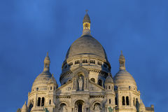 Nightfall in the sacre coeur Royalty Free Stock Image