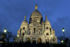 Nightfall in the sacre coeur Stock Photos