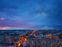 Nightfall. The sun gives way to a bright night Stock Photo
