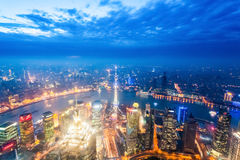 Nightfall view of shanghai Stock Photo