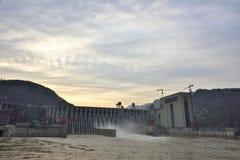 The nightfall of xiangjiaba hydropower station. Stock Photo