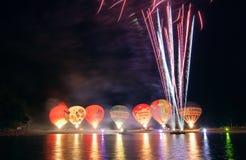 Nightglow com os balões de ar quente Fotos de Stock Royalty Free