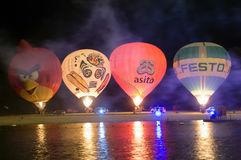 Nightglow with hot air balloons Royalty Free Stock Photo