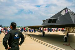 Nighthawk de Lockheed F-117 à la base aérienne de Barksdale Images stock