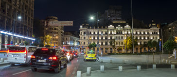 Nightime in Bucharest on Victory Avenue Royalty Free Stock Photos