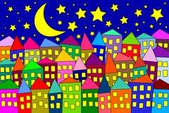 Nightime för stads- Cityscape för natt färgrika byggnader Arkivbilder