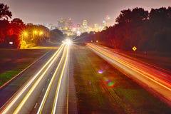 Nightime lång exponering nära columbia South Carolina Arkivbilder