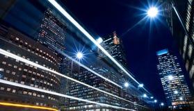 Nightime no distrito da cidade financeiro Fotografia de Stock