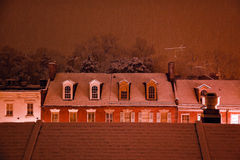 Nightime Snow Georgetown Rooftops Washington DC Stock Photography