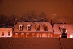 Nightime Snow Georgetown Rooftops Washington DC stock photography