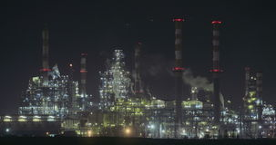 Nightime view of a large oil refinery