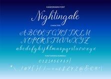 nightingale Handdrawn καλλιγραφική διανυσματική πηγή στοκ φωτογραφία