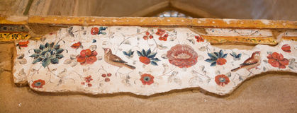 Nightingales and flowers in the patterns of ancient frescos Stock Photo