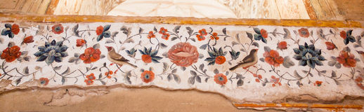 Nightingales and flowers in the patterns of ancient frescos on the walls of historical palace in Iran Stock Images
