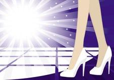 Nightlife. Woman on a night club floor illustration popart Stock Photos